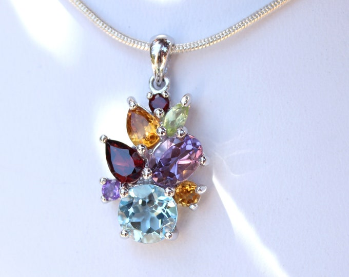 Gemstone Pendant with Sky Blue Topaz, Garnet, Citrine, Amethyst and Peridot Genuine Gemstones Sterling Silver, Birthstone Necklace