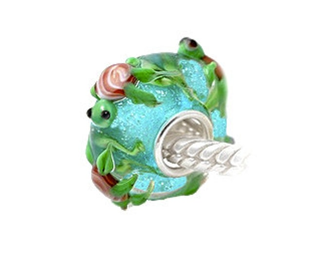 Turtles Aqua Glitter Glass Bead - 925 Sterling Silver Interior Slide On Bead For European Style Snake Chain Charm Bracelets