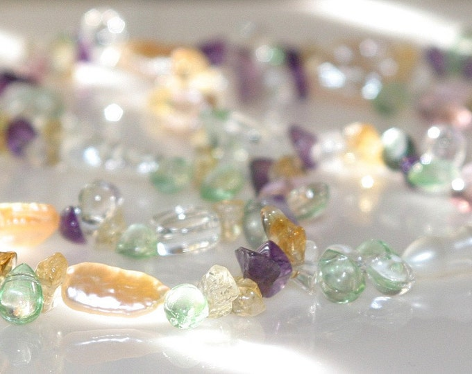 41 inch Long Gemstone Necklace Freshwater Pearls, Amethyst and Citrine