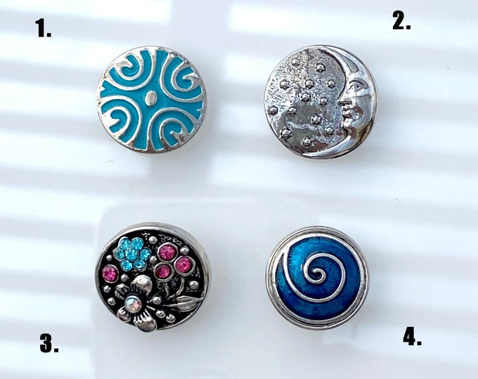 Ornate Turquoise, Man in Moon, Blue Pink Crystal Garden, Blue Swirl SNAP snap button jewelry charms - chunk buttons - ginger snap jewelry