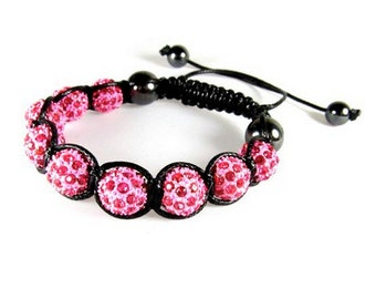 Order One, Two, Three, Four or Five -  Pink Crystal Ball Bracelets, Adjustable Drawstrings, Wholesale Bracelets
