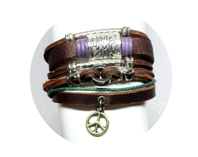 Personalized TWO Genuine Leather Bohemian Multi Strand Bracelets Adjustable CHOOSE Peace Sign, Cross, Celtic Fleur , Mom Heart, Tree of Life