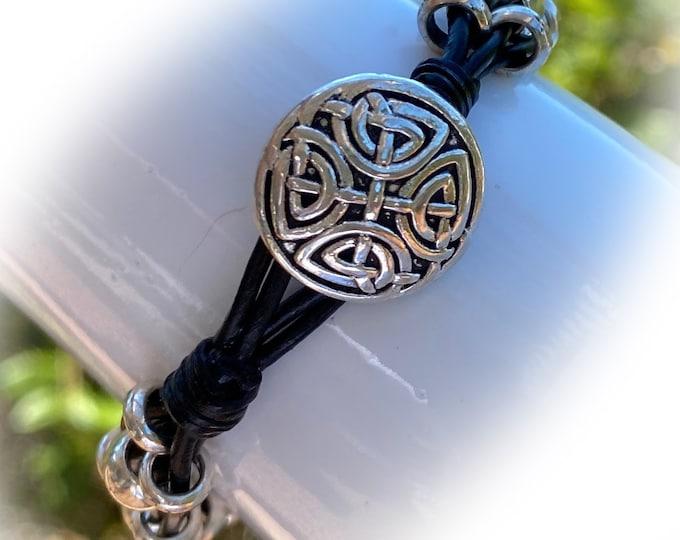 Boho Celtic Bead Black Leather Bracelet, Wrap Bracelet, Boho Bracelet, Bohemian Jewelry Bracelet, Beaded Wrap Bracelet, Celtic Design Button