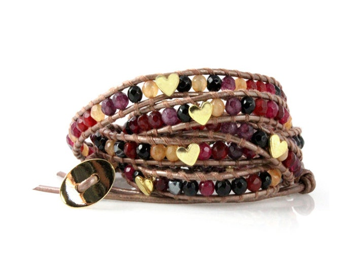 Red, Wine, Yellow Agate and Hematite Gemstone 5x Wrap Bracelet with Heart Beads on Quality Bronze Leather, Bohemian Festival Boho Jewelry