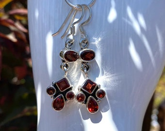 Allure Garnet Gemstone Earrings in Sterling Silver with January Birthstone Faceted Garnets, Also With Matching Necklace or Set, Only by BSJ