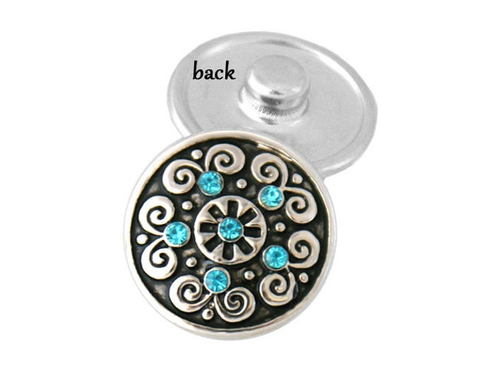 SNAP button - blue crystal swirl - snap button - chunk buttons - ginger snaps - interchangeable jewelry - SNAP jewelry - snap chunk