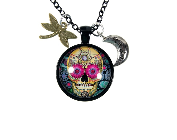 Sugar Skull Pendant Necklace with Dragonfly and Crescent Moon on Long 22.5 Inch Chain, Sweater Necklace, Colorful Day Of The Dead Jewelry