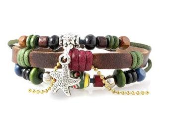 Starfish Multi Strand Genuine Leather Zen Bracelet Quality Hand Made Beaded Wrap Bracelet Men, Women, Teens, Teenager, Boys, Girls, Unisex