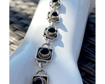 Black Onyx Gemstone Handcrafted Sterling Silver Link Bracelet, Plus Size Bracelet 8.25 Inches Long