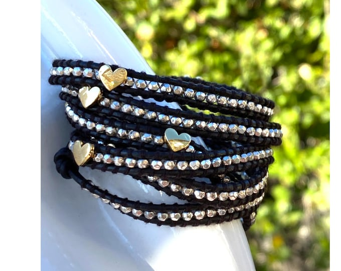 """Heart Bead 5x Wrap Bracelet with Faceted Silver Nuggets Quality Hand-Sewn Genuine Leather 39"""" Long Adjustable Bracelet Fits Up To Plus Size"""