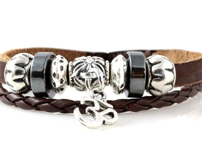 OM Leather Bracelet Women's Men's Unisex Handmade Quality Leather Strand Beaded Bracelets, Unique OHM Zen Yoga Adjustable Charm Bracelet