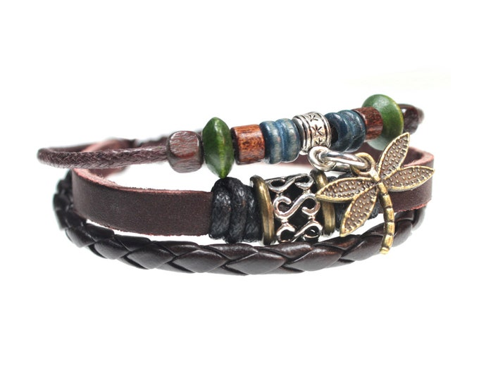 Dragonfly Multi Strand Genuine Leather Zen Bracelet Quality Hand Made Beaded Wrap Bracelet with Unique Adjustable Drawstrings Gift Box