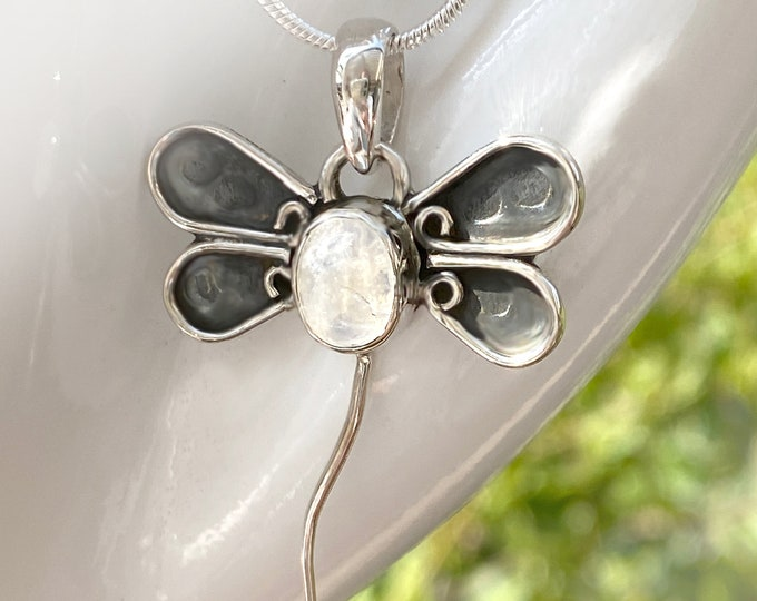 """Moonstone Dragonfly Hand Crafted Sterling Silver Pendant, Exclusively from Beautiful Silver Jewelry, Plus 16, 18 or 20"""" SP Chain"""
