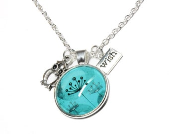Dandelion Charm Necklace in Aqua Blue with Owl and WISH Charms 20 inch chain with extender.  Great jewelry gift for girls, teenager, women