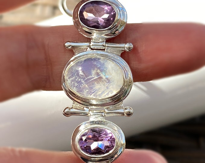 Rainbow Moonstone and Amethyst 925 Sterling Silver Bracelet with June and February Birthstone Gemstones, average, large and xl plus size