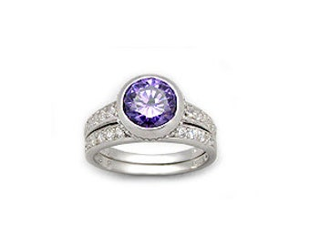 Sterling Silver 2 CT Round Lilac Purple Brilliant CZ Cubic Zirconia Double Ring Set in Size 8 - Band and Wedding Ring with 2 Carat Stone