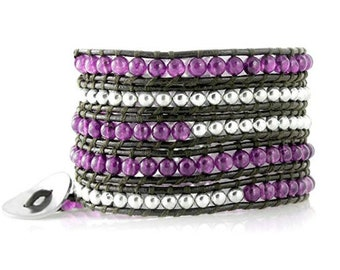 Purple Agate Beads with Silver Beads on Brown Leather Five Times Wrap Bracelet Designed By and Exclusively From Beautiful Silver Jewelry