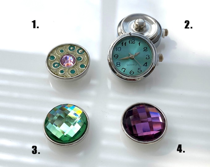 Pink & Green Snap, Teal Working Watch Snap, Green Crystal, Purple Crystal SNAP button jewelry charms - chunk buttons - ginger snap jewelry