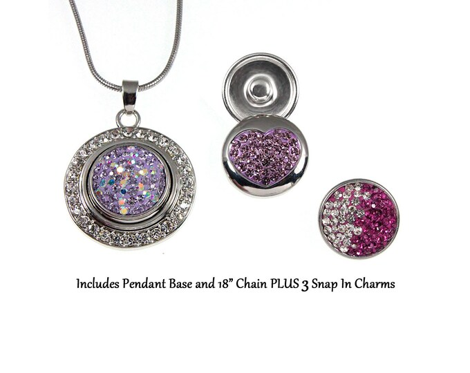 Purple Pink Mix Crystal Snap Charm Necklace and Three Sparkling Snap On Crystal Charms - chunk buttons - ginger snaps - noosa style charms