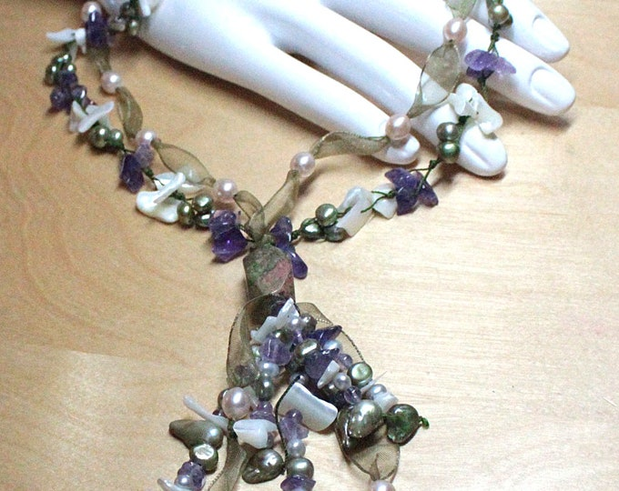 Suffragette Inspired Boho Ribbon Necklace with Peridot, Amethyst, Pearl Women's Rights Movement August, February, June Birthstone Jewelry