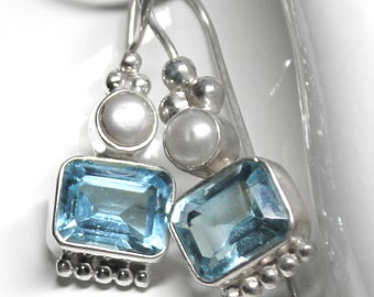 Sky Blue Topaz Emerald Cut Sterling Silver Earrings with Freshwater Pearls, Designed By and Exclusively from Beautiful Silver Jewelry
