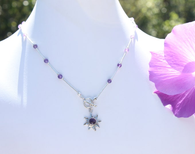 Amethyst Flower Necklace on Gemstone Bead Sterling Silver Chain for Off Shoulder Blouses, Dresses, Wedding, Bohemian Styles, Casual Tops