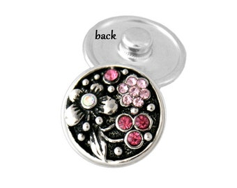 SNAP button - light and dark pink flowers - snap button - chunk buttons - ginger snaps - interchangeable jewelry - SNAP jewelry - snap chunk