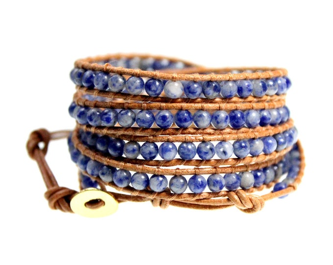 Blue Jean Agate 5x Wrap Bracelet on Natural Tan Leather Hand Crafted Extra Long Length - Exclusively from Beautiful Silver Jewelry