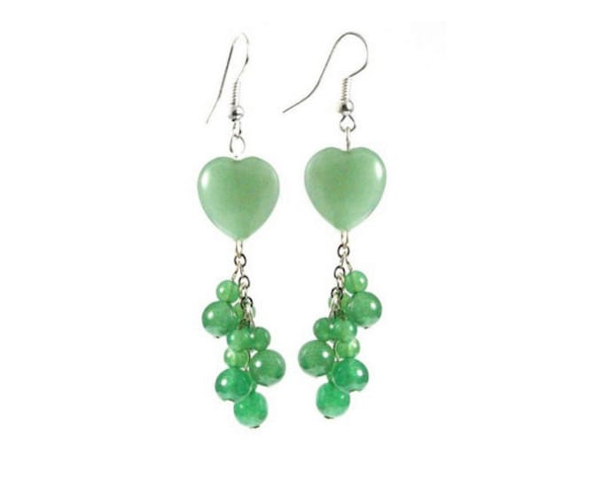 Green Aventurine Heart Shape Dangle Bead Earrings with Sterling Silver Earwires