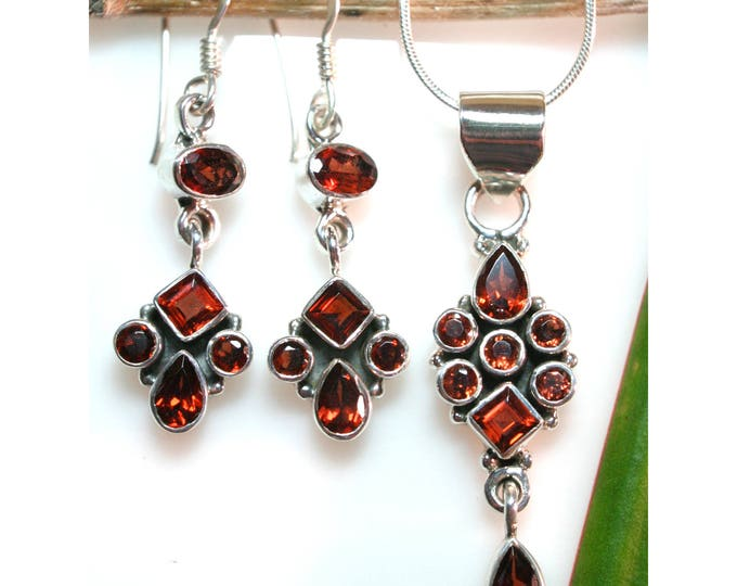 Garnet Earrings, Pendant, Set Solid 925 Sterling Silver January Birthstone Jewelry with Faceted Genuine Garnets by Beautiful Silver Jewelry
