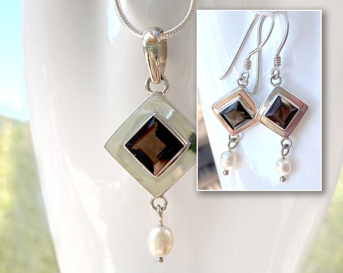 Smoky Topaz and Pearl Gemstone Pendant and Earrings Jewelry Set 925 Sterling Silver - Designer Jewelry by Beautiful Silver Jewelry