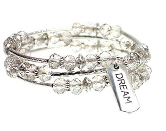 DREAM Message Charm Faceted Bead Wrap Bracelet Inspirational Message Womens Beaded Bangle - Exclusively from Beautiful Silver Jewelry