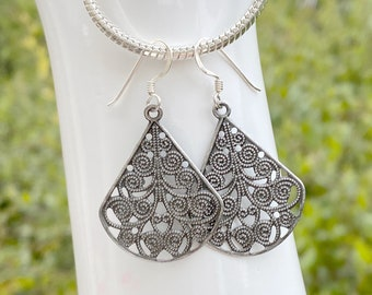 Lacy Filagree Antiqued Silver Earrings on Sterling Silver Ear Wires - Lightweight, 1.75 inch Tall Earrings - in Gift Box