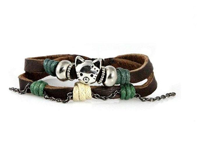 Cute Cat Leather Bracelet Handmade Quality Leather Multi Strand Adjustable Drawstring Zen Bracelet, Women, Boys, Girls, Birthday, Gift Box