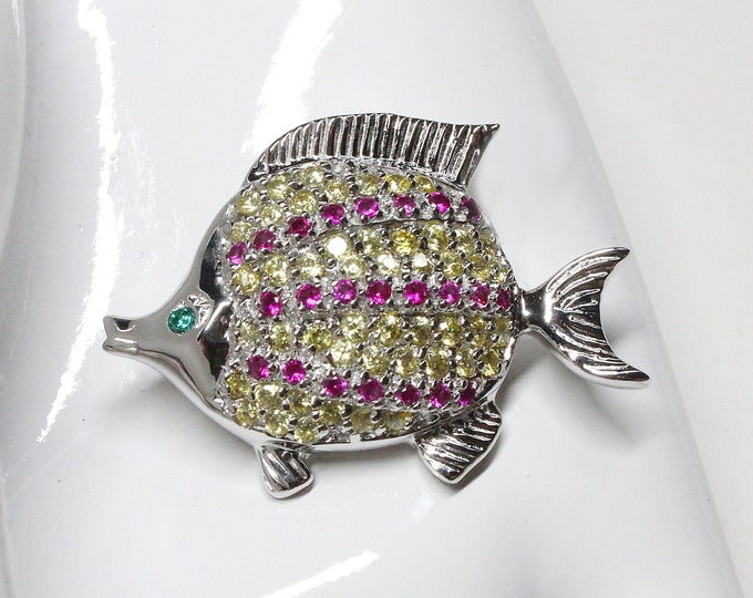 Tropical Fish Cubic Zirconia Sterling Silver Pendant Necklace AND Brooch Pin Brilliant Quality CZ stones Unique Jewelry Womens Brooch Pin