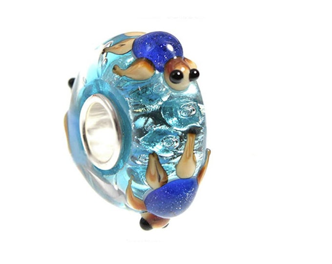 Blue Turtles Lampwork Aqua Glass Bead 3-D Charm - Sterling Silver Core Slide On Bead Fits European Style Snake Chain Charm Memory Bracelets
