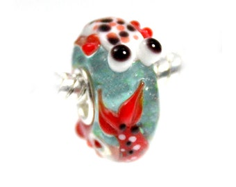 Koi Fish Lampwork Glass Bead - 925 Sterling Silver Interior Slide On Bead For European Style Snake Chain Charm Bracelets - Save on More