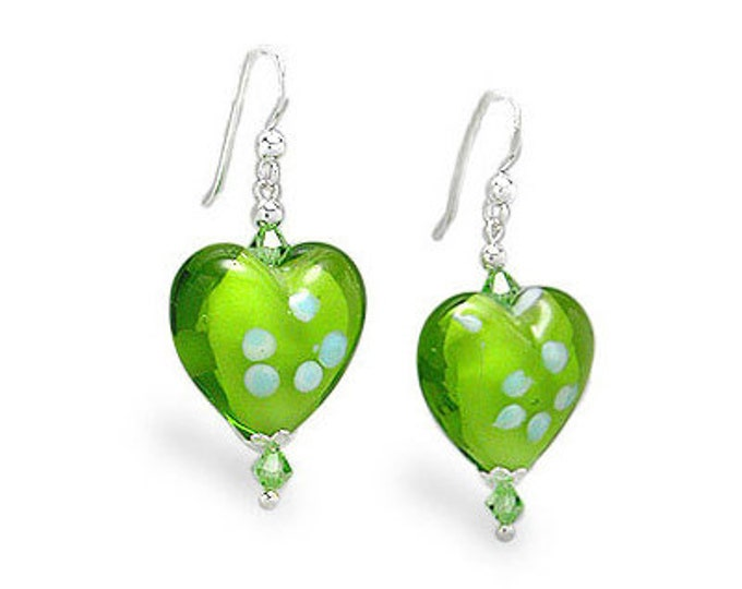 Green Glass Heart Earrings with Color Accent Glass Beads on Sterling Silver Earwires, Handblown, Handcrafted Glass Earrings