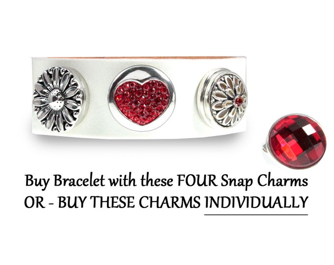 Red Crystal Snap On FOUR Charm Leather Bracelet OR buy button charms individually - chunk buttons - ginger snaps - noosa button snap jewelry