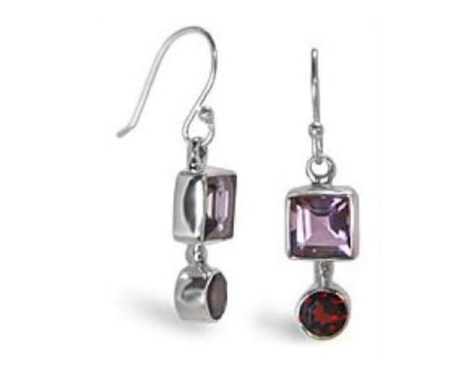Amethyst and Garnet Gemstone Earrings Handcrafted in 925 Sterling Silver - January and February Birthstones