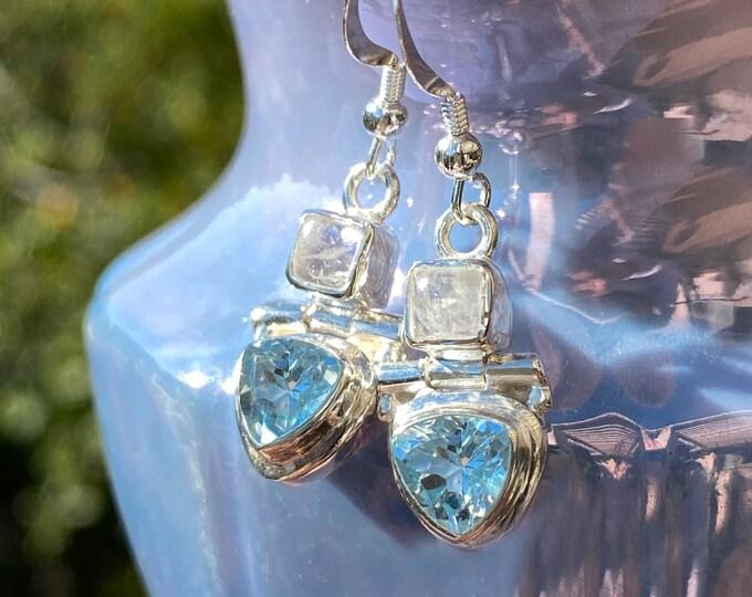 Blue Topaz & Moonstone Sterling Silver Earwire Dangle Earrings December and June Birthstone Gemstone Earrings by Beautiful Silver Jewelry