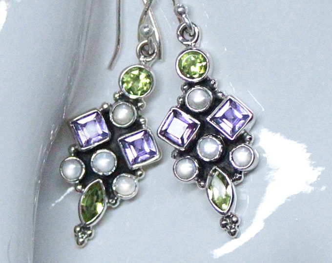 Suffragette Earrings Peridot, Amethyst, Pearl Sterling Silver Women's Rights Jewelry