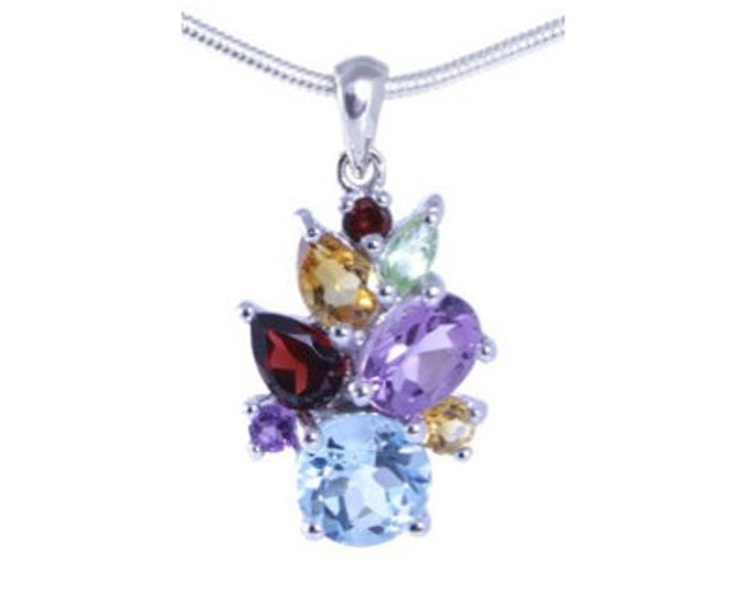 Gemstone Pendant with Sky Blue Topaz, Garnet, Citrine, Amethyst and Peridot Genuine Gemstones 925 Sterling Silver - 16 or 18 inch Necklace