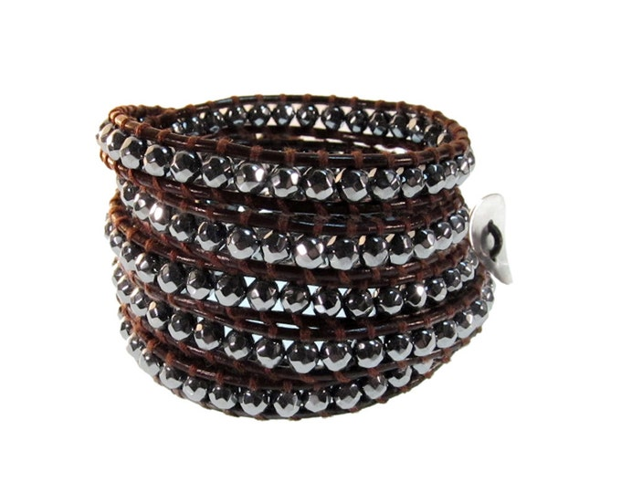 Faceted Hematite Gemstone on Brown Leather 5x Wrap Bracelet - Quality Hand-sewn 5x Wrap Bracelet on Quality Brown Leather