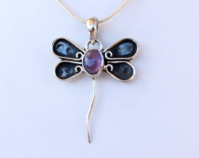 "Amethyst Gemstone Dragonfly Hand Crafted Sterling Silver Pendant, Exclusively from Beautiful Silver Jewelry, Plus 16, 18 or 20"" SP Chain"