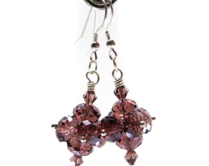 "Smoky Topaz Color Crystal Bead 2"" Long Earrings on Sterling Silver Earwires - Exclusively from Beautiful Silver Jewelry"