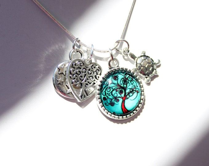 Tree of Life Charm Necklace with Turtle, Heart and Moon Charms on Your Choice of 16, 18, 20 or 22 Inch Necklace Chain