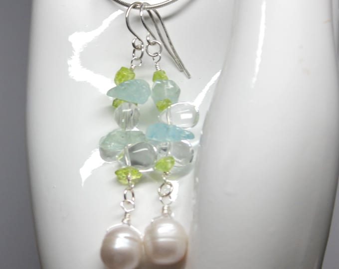 Freshwater Pearl Dangle Earrings with Peridot and Blue Topaz Gemstone August December Birthstone Jewelry