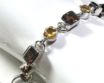 Smoky Topaz and Citrine Gemstone Bracelet Sterling Silver, Designed by Beautiful Silver Jewelry Adjustable Toggle November Birthstone