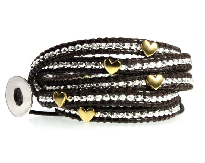 "Heart Bead Wrap Bracelet with Faceted Silver Nuggets, Quality Hand-sewn Genuine Leather 39"" Adjustable Wrap Bangle Bracelet"